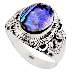 3.62cts natural abalone paua seashell 925 silver solitaire ring size 7 r53443