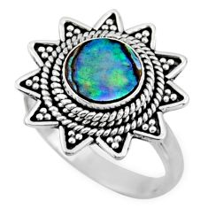 2.93cts natural abalone paua seashell 925 silver solitaire ring size 7 r54330