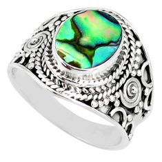 3.42cts natural abalone paua seashell 925 silver solitaire ring size 7 r58286