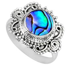 2.78cts natural abalone paua seashell 925 silver solitaire ring size 7 r58973