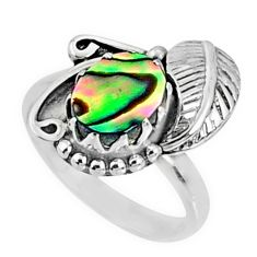 2.41cts natural abalone paua seashell 925 silver solitaire ring size 7 r67288