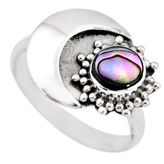 0.78cts natural abalone paua seashell 925 silver solitaire ring size 7 r67382