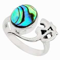 3.51cts natural abalone paua seashell 925 silver solitaire ring size 7 r67407