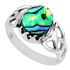 3.17cts natural abalone paua seashell 925 silver solitaire ring size 7 r67433