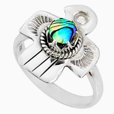 0.77cts natural abalone paua seashell 925 silver solitaire ring size 7 r67446