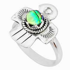0.78cts natural abalone paua seashell 925 silver solitaire ring size 7 r67449