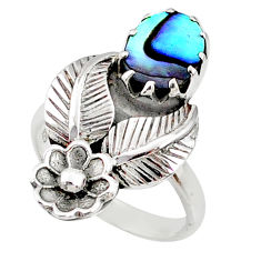 2.93cts natural abalone paua seashell 925 silver solitaire ring size 7 r67493