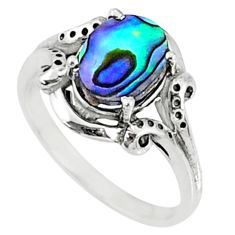 3.12cts natural abalone paua seashell 925 silver solitaire ring size 7 r68610