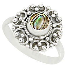 0.66cts natural abalone paua seashell 925 silver solitaire ring size 7 r76770