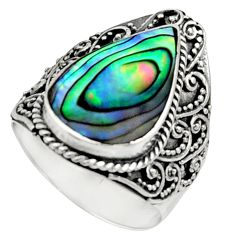 5.62cts natural abalone paua seashell 925 silver solitaire ring size 8 c9815