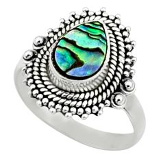 2.56cts natural abalone paua seashell 925 silver solitaire ring size 8 r52341