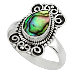 2.58cts natural abalone paua seashell 925 silver solitaire ring size 8 r52572