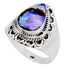 3.62cts natural abalone paua seashell 925 silver solitaire ring size 8 r53445