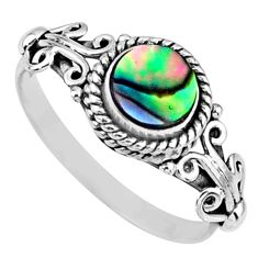 0.91cts natural abalone paua seashell 925 silver solitaire ring size 8 r57384