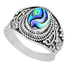 2.90cts natural abalone paua seashell 925 silver solitaire ring size 8 r57968