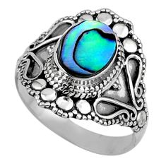 2.34cts natural abalone paua seashell 925 silver solitaire ring size 8 r61067