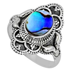 2.34cts natural abalone paua seashell 925 silver solitaire ring size 8 r61109
