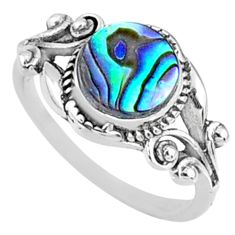 2.90cts natural abalone paua seashell 925 silver solitaire ring size 8 r68666