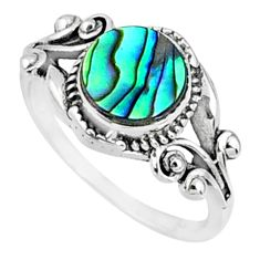 2.90cts natural abalone paua seashell 925 silver solitaire ring size 8 r68667