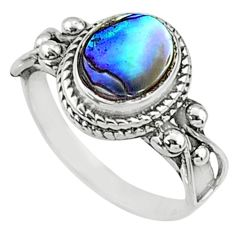 2.51cts natural abalone paua seashell 925 silver solitaire ring size 8 r68750