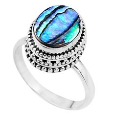 3.90cts natural abalone paua seashell 925 silver solitaire ring size 8 t16289