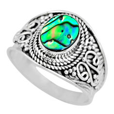 2.81cts natural abalone paua seashell 925 silver solitaire ring size 9 r57962