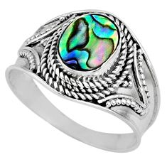 2.78cts natural abalone paua seashell 925 silver solitaire ring size 9 r57967