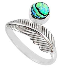 1.14cts natural abalone paua seashell 925 silver solitaire ring size 9 r67468