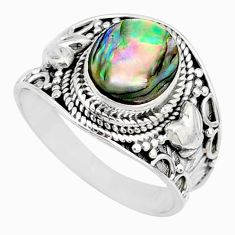 3.19cts natural abalone paua seashell 925 silver solitaire ring size 9 r74696