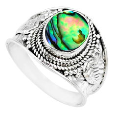 3.13cts natural abalone paua seashell 925 silver solitaire ring size 9 r74700