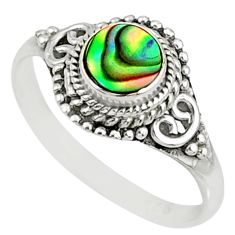 0.86cts natural abalone paua seashell 925 silver solitaire ring size 9 r76725