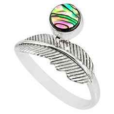 0.91cts natural abalone paua seashell 925 silver solitaire ring size 9 r77769