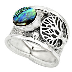 2.63cts natural abalone paua seashell 925 silver tree of life ring size 7 r49897