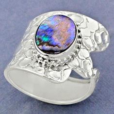 4.02cts natural abalone paua seashell silver adjustable ring size 8.5 r63412
