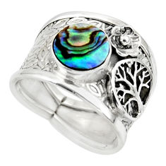2.51cts natural abalone paua seashell silver tree of life ring size 6.5 r49887