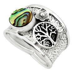 2.63cts natural abalone paua seashell silver tree of life ring size 7.5 r49895