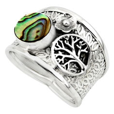 2.46cts natural abalone paua seashell silver tree of life ring size 8.5 r49899