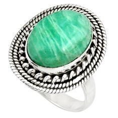 7.07cts natural amazonite (hope stone) 925 silver solitaire ring size 7.5 d39061