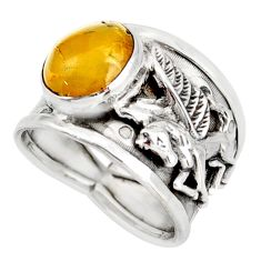4.32cts natural amber bone 925 silver solitaire unicorn ring size 8.5 d45912