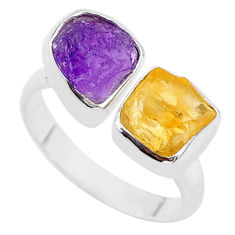 10.23cts natural amethyst citrine raw 925 silver adjustable ring size 8 t37810