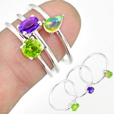 3.41cts natural amethyst ethiopian opal 925 silver 3 rings size 6.5 r92454