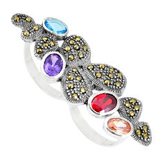 Natural purple amethyst garnet topaz marcasite 925 silver ring size 5.5 c16006