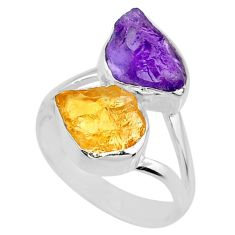 11.07cts natural amethyst raw citrine rough 925 silver ring size 8 r73896