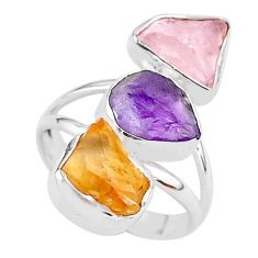 13.09cts natural amethyst raw citrine rough 925 silver ring size 7 t37734