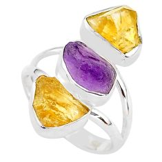 13.09cts natural amethyst raw citrine rough 925 silver ring size 8 t37723