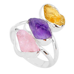 12.10cts natural amethyst raw citrine rough 925 silver ring size 8 t37725