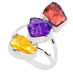 12.96cts natural amethyst raw garnet rough 925 silver ring size 8 t37672