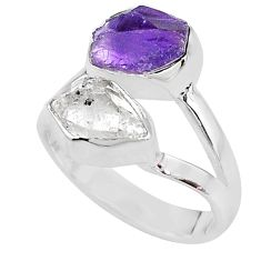 8.91cts natural amethyst raw herkimer diamond 925 silver ring size 7 t9930