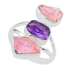 13.09cts natural amethyst raw rose quartz rough silver ring size 9 t37785
