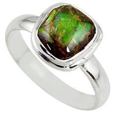 4.16cts natural ammolite (canadian) 925 silver solitaire ring size 8.5 r39406